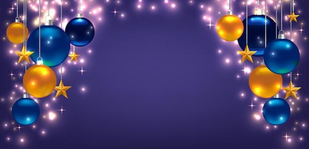 Lindo modelo de cartão de natal ou ano novo, panfleto, cartaz, convite, banner. promoção ou modelo de compras. com bolas, estrelas e copyspace. tolet Vetor Premium