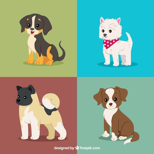 Lindo pacote de cachorros Vetor Premium
