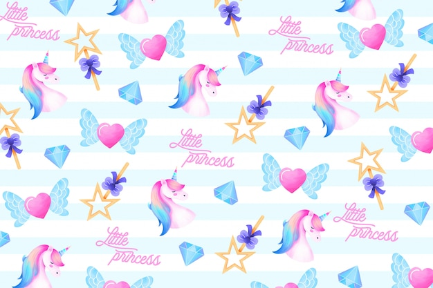 Lindo padrão com elementos mágicos para uma pequena princesa Vetor grátis