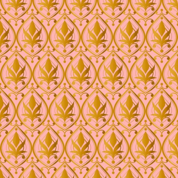 Lindo padrão de ouro rosa Vetor grátis