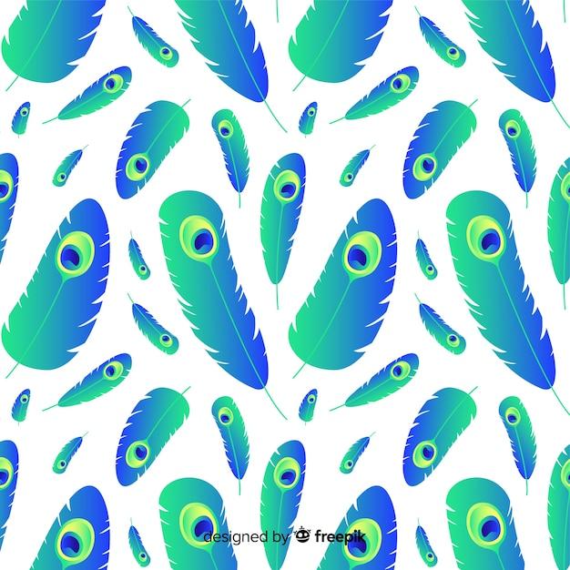 Lindo padrão de penas de pavão com estilo gradiente Vetor grátis