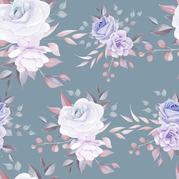 Lindo padrão floral sem costura com flores roxas macias Vetor grátis