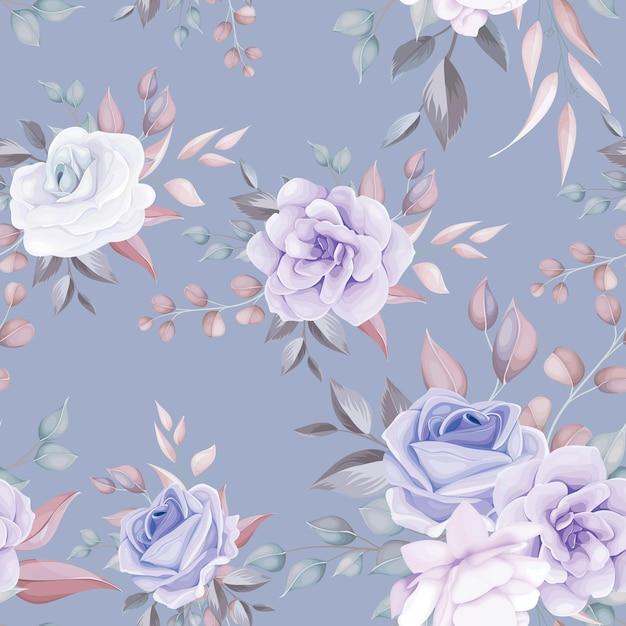 Lindo padrão floral sem costura com flores roxas macias Vetor Premium