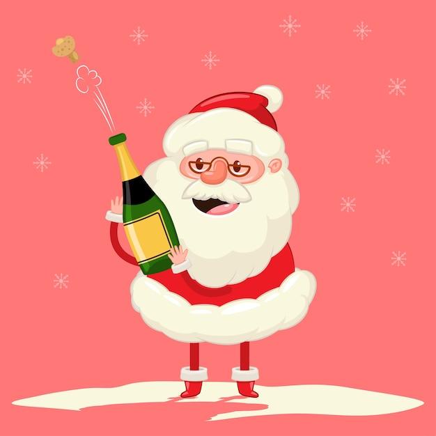 Lindo papai noel com explosão de garrafa de champanhe personagem engraçada dos desenhos animados de natal em fundo de flocos de neve. Vetor Premium