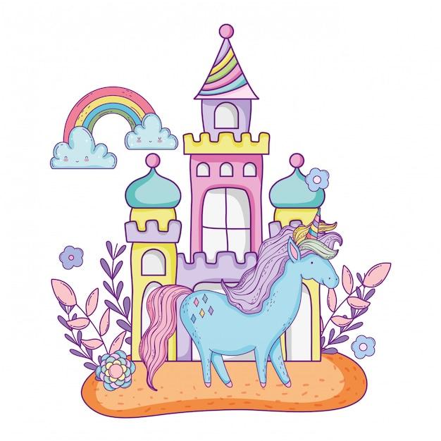 Lindo pequeno unicórnio com castelo e arco-íris Vetor Premium