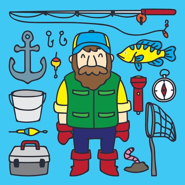 Lindo Pescador De Desenhos Animados E Sua Serie De Ferramentas De