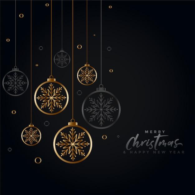 Lindo preto e ouro feliz natal saudação Vetor grátis
