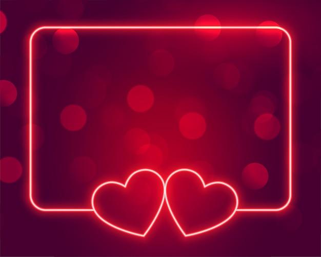 Lindo quadro de corações de néon com espaço de texto Vetor grátis