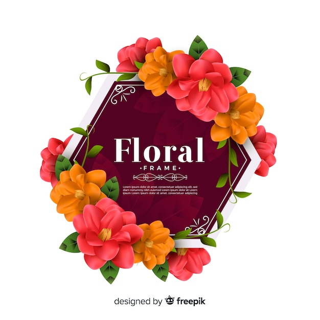 Lindo quadro floral com design realista Vetor grátis