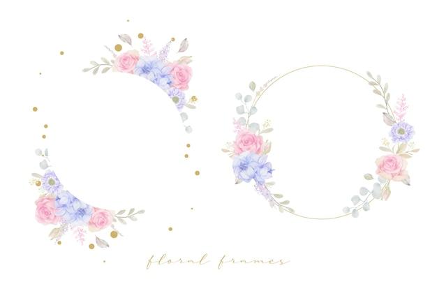 Lindo quadro floral com flores em aquarela Vetor grátis