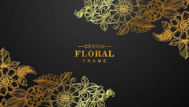 Lindo quadro floral dourado com fundo preto Vetor grátis