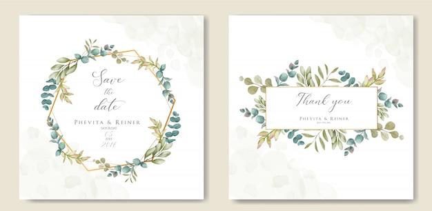 Lindo quadro floral para convite de casamento Vetor Premium