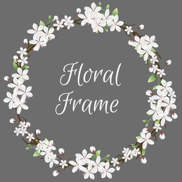Lindo quadro floral Vetor Premium