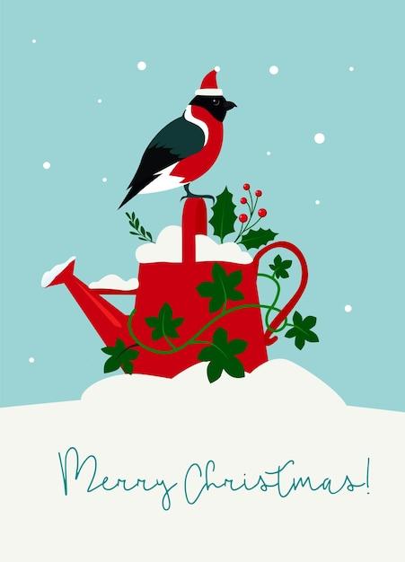 Lindo regador para cartão de natal com folhas de azevinho e hera, dom-fafe Vetor Premium