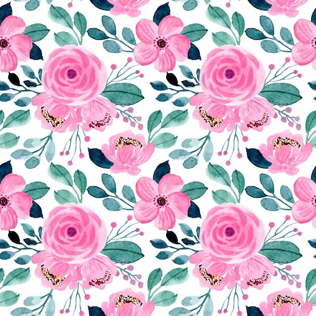 Lindo rosa e verde floral aquarela padrão sem emenda Vetor Premium
