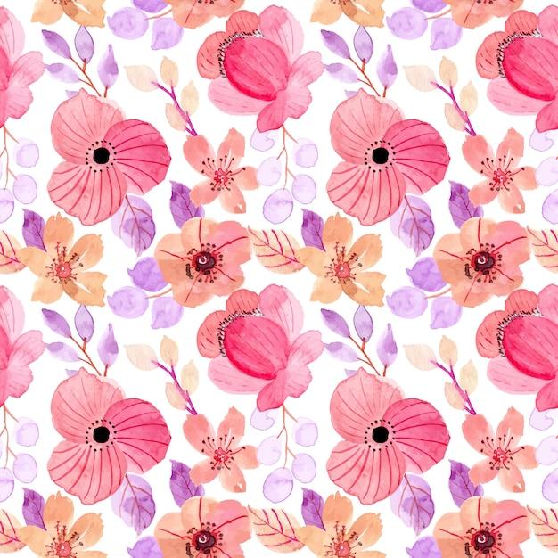 Lindo rosa roxo floral aquarela sem costura padrão Vetor Premium