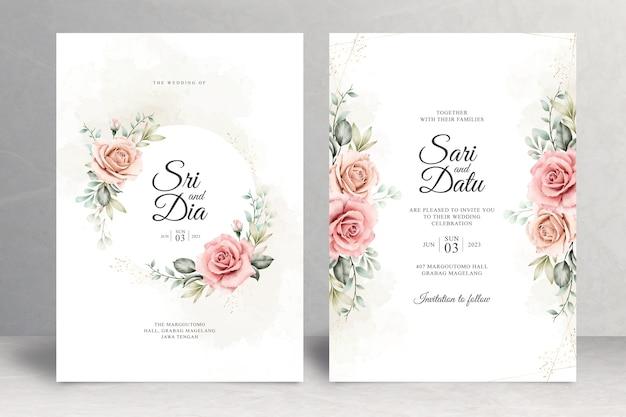 Lindo tema floral de cartão de casamento Vetor Premium