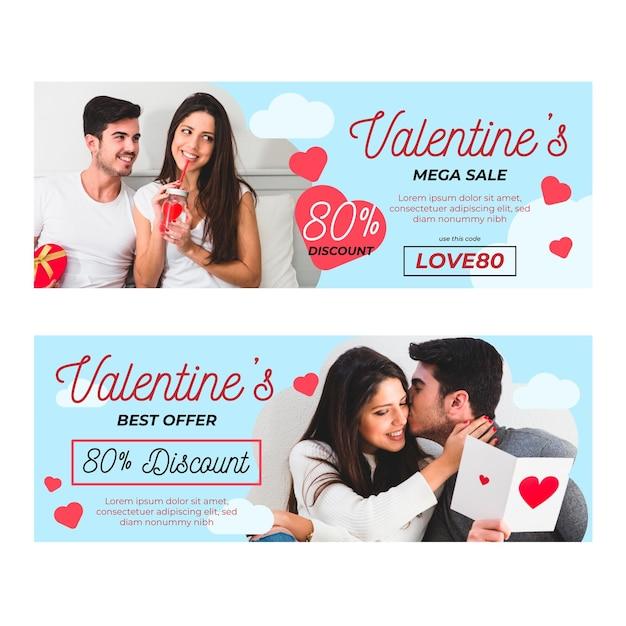 Lindos banners de promoção do dia dos namorados com foto Vetor grátis