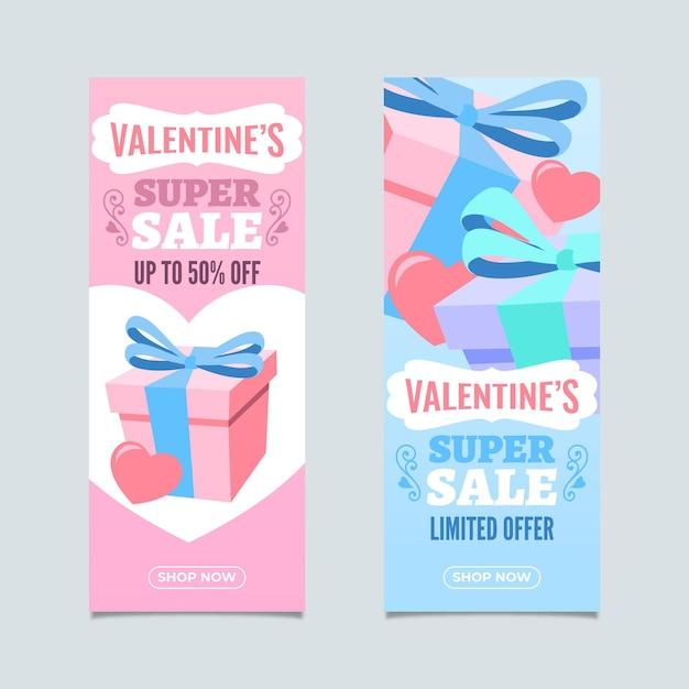 Lindos banners verticais de promoção do dia dos namorados Vetor grátis