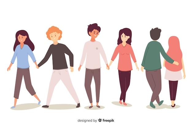 Lindos casais caminhando juntos Vetor grátis