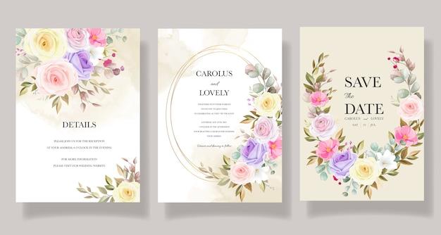 Lindos designs de modelo de cartão de convite de flores de rosas Vetor grátis
