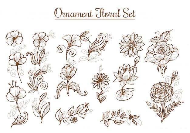 Lindos enfeites desenhados à mão desenho de flores Vetor grátis