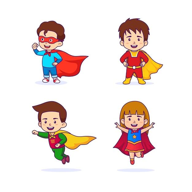 Lindos filhos em traje de super-heróis Vetor Premium