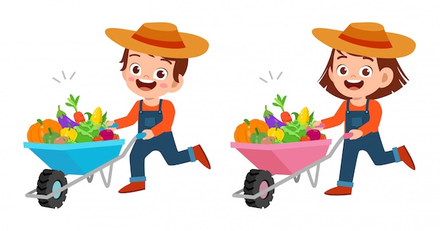 Lindos meninos felizes colhem frutas e legumes Vetor Premium