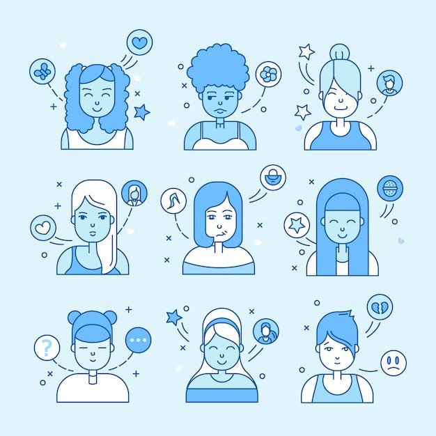 Linear pessoas planas enfrenta ilustração. avatar de mídia social, userpic e perfis. Vetor grátis