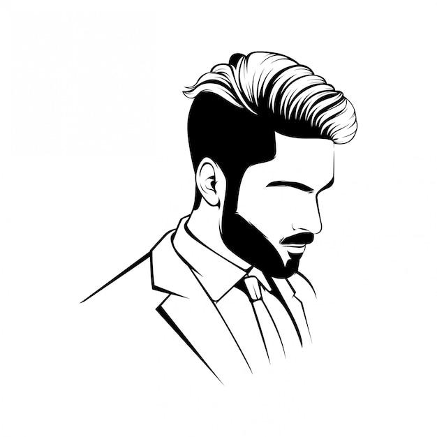 Lineart básico para mascote de logotipo de barbearia Vetor Premium