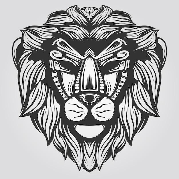 Lineart cabeça de leão Vetor Premium