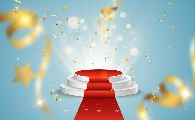 Lineração reta para vencedores do prêmio. pedestal ou plataforma para homenagear os vencedores dos prêmios. Vetor Premium