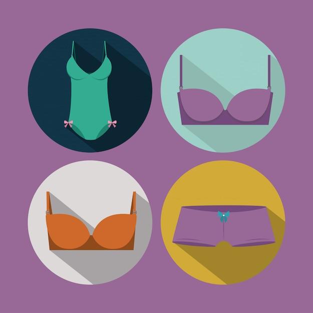 Lingerie mulher, ilustração vetorial Vetor Premium