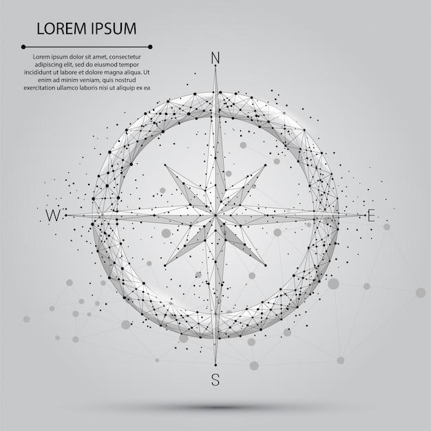 Linha abstrata e ícone de bússola ponto. ilustração de estilo baixo poli Vetor Premium