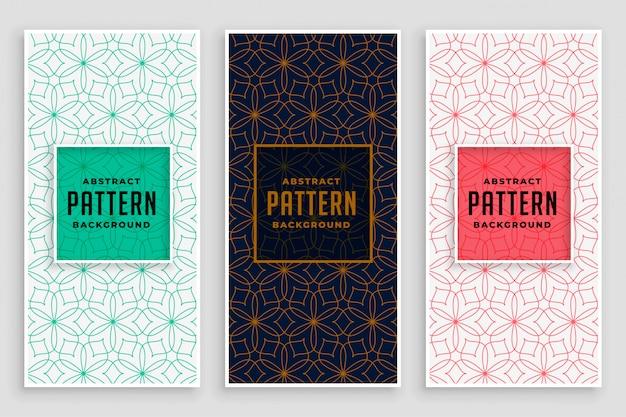 Linha abstrata padrão de design de banner de flores Vetor grátis