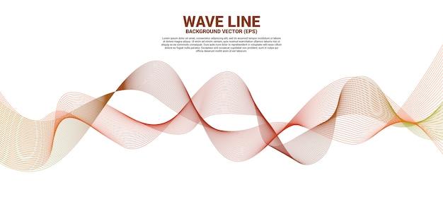 Linha alaranjada curva da onda sadia no fundo branco. Vetor Premium