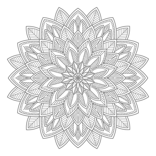 Linha arte floral mandala para conceito decorativo Vetor Premium