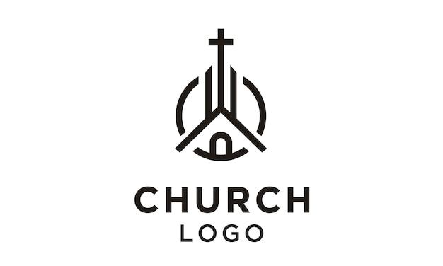 Linha arte igreja / design de logotipo cristão Vetor Premium
