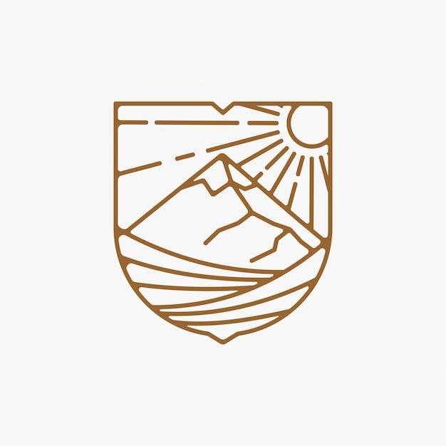 Linha arte vinha logotipo design ilustração, design de logotipo de montanha Vetor Premium