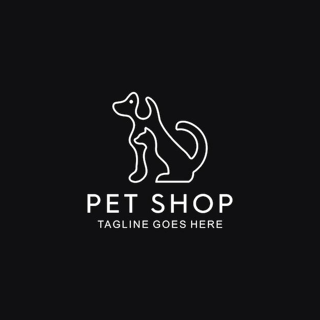 Linha cão e gato Vetor Premium