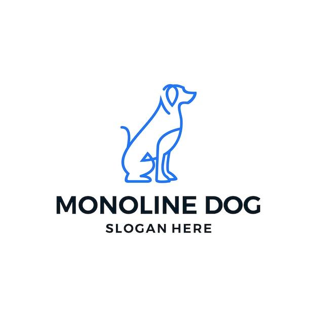 Linha cão logotipo vetor simples Vetor Premium