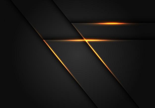 Linha clara amarela no fundo geométrico cinzento escuro. Vetor Premium