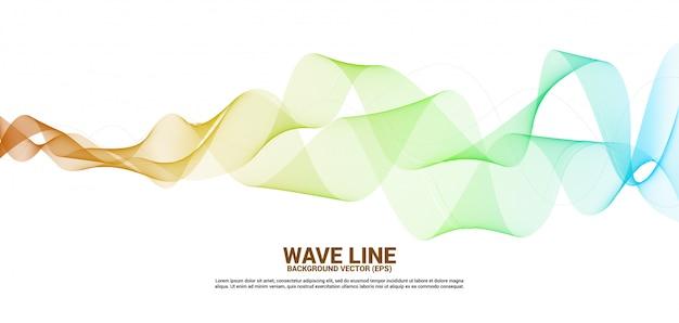 Linha curva amarela e alaranjada da onda sadia no fundo branco. Vetor Premium
