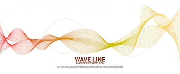 Linha curva vermelha e alaranjada da onda sadia no fundo branco. Vetor Premium