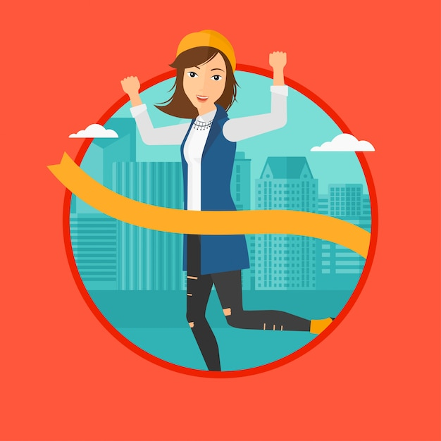 Linha de chegada de cruzamento de mulher de negócios. Vetor Premium