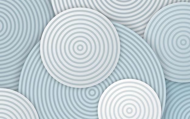 Linha de círculo abstrato nas camadas de fundo branco Vetor Premium