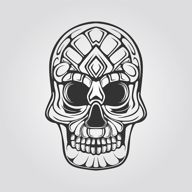 Linha de crânio decorativo abstrack Vetor Premium