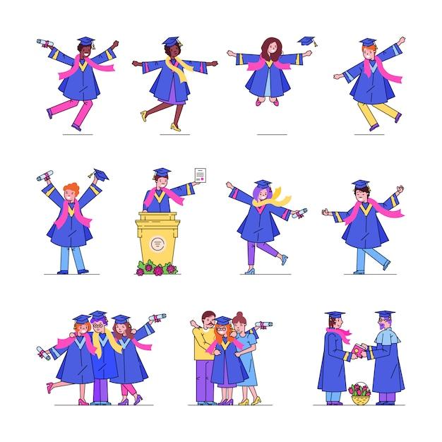 Linha de estudantes de graduação universitária coleção definida de ilustrações de graduados de dança feliz. Vetor Premium