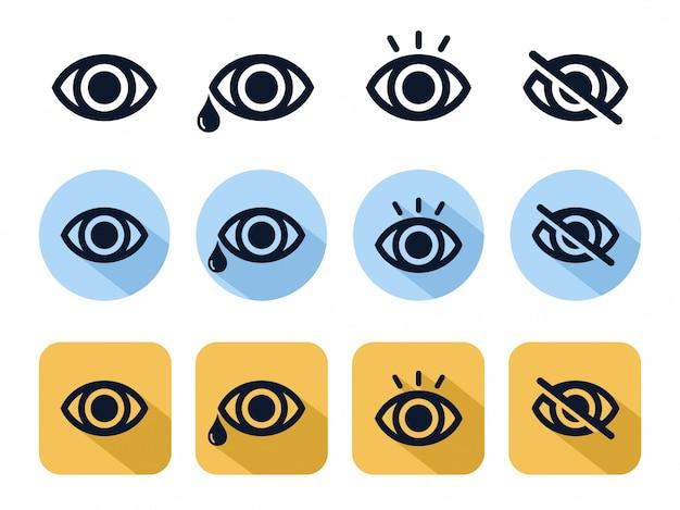 Linha de ícone de olho Vetor Premium