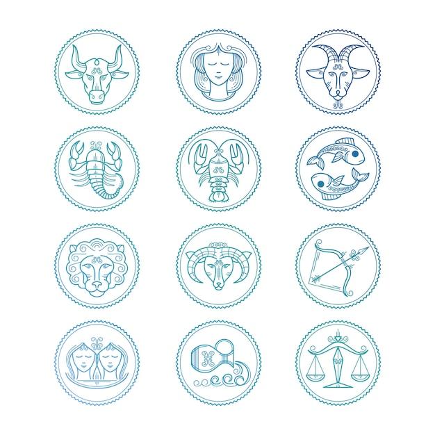 Linha de ícones conjunto de signos do zodíaco. emblemas do horóscopo colorido Vetor Premium